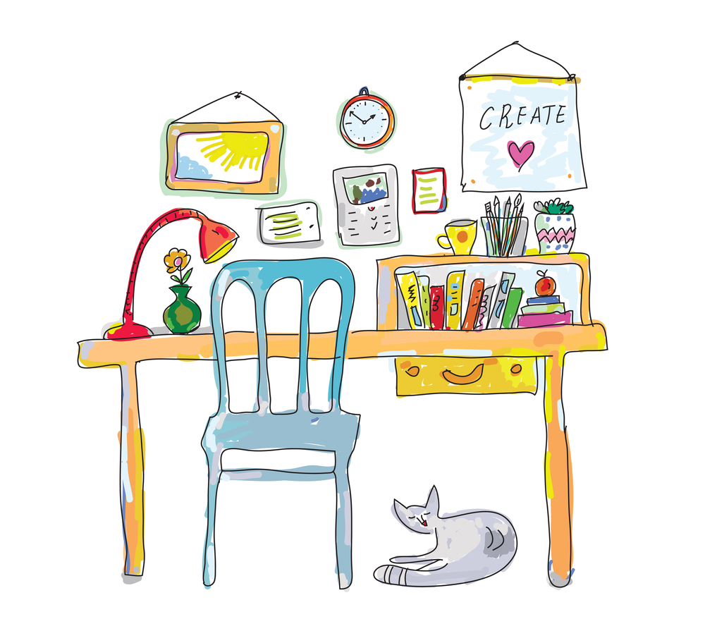 Sketch of creative workspace