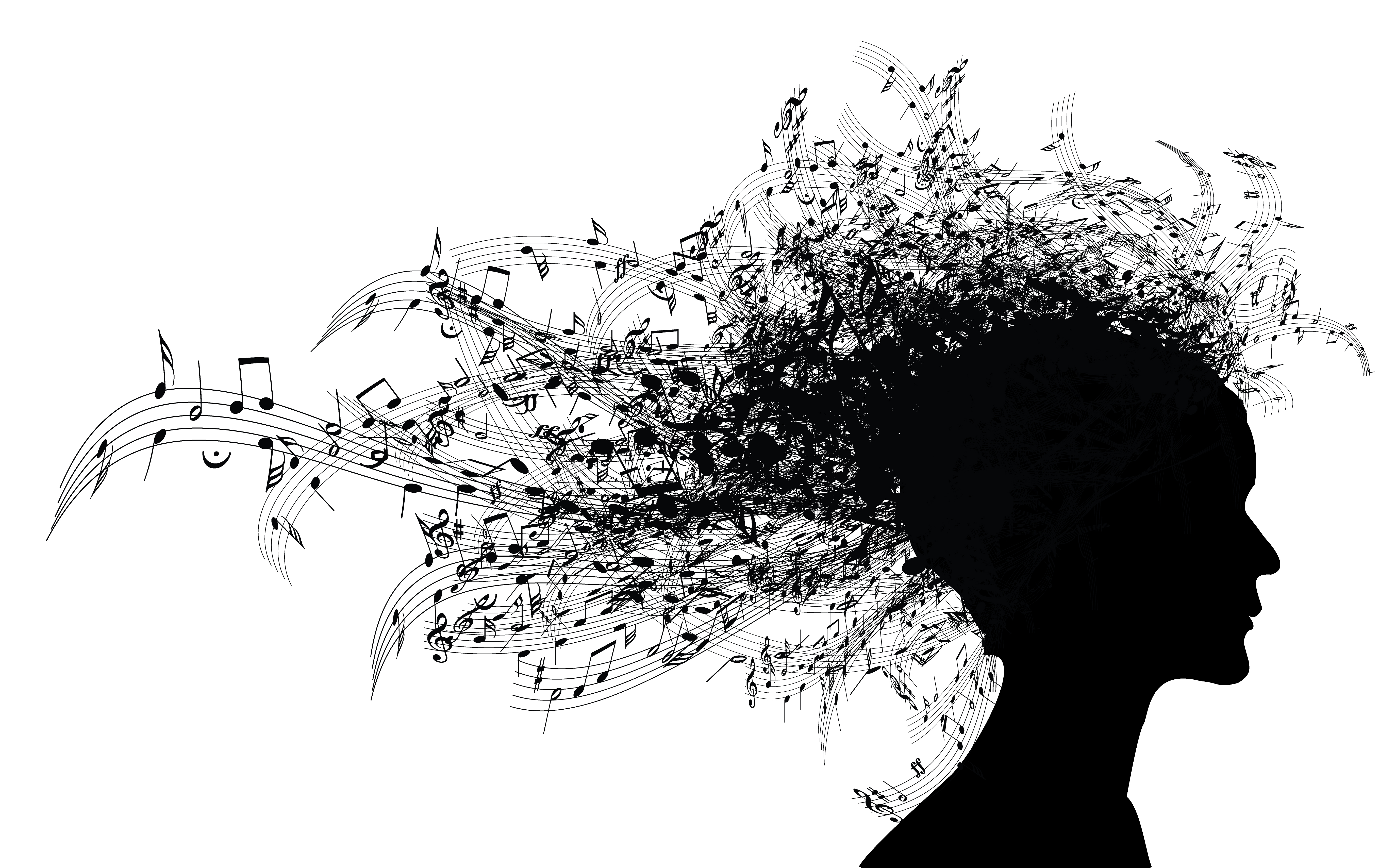 Silhouette image of woman with musical notes streaming from her head like hair.